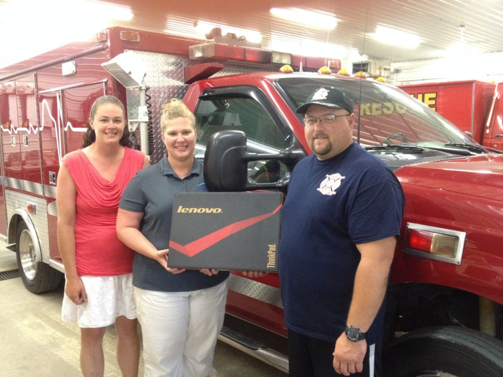 Pictured are Elizabeth Jaster, City of Garber; Melissa Schilling, City of Garber and Alpine Communications; and Chad Kuehl, Garber Fire Department.